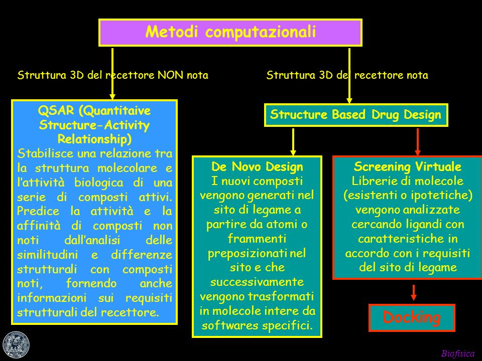 Biofisica Metodi computazionali Struttura 3D del recettore NON notaStruttura 3D del recettore nota Structure Based Drug Design QSAR (Quantitaive Struc