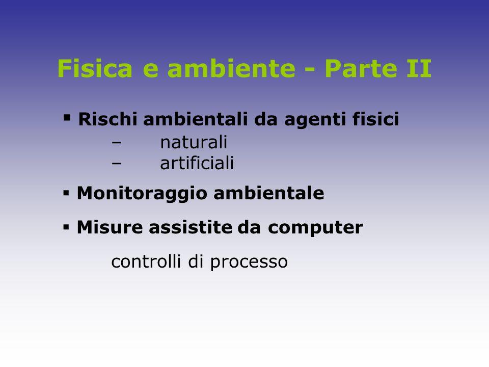 Fisica e ambiente - Parte II Rischi ambientali da agenti fisici –naturali –artificiali Monitoraggio ambientale Misure assistite da computer controlli