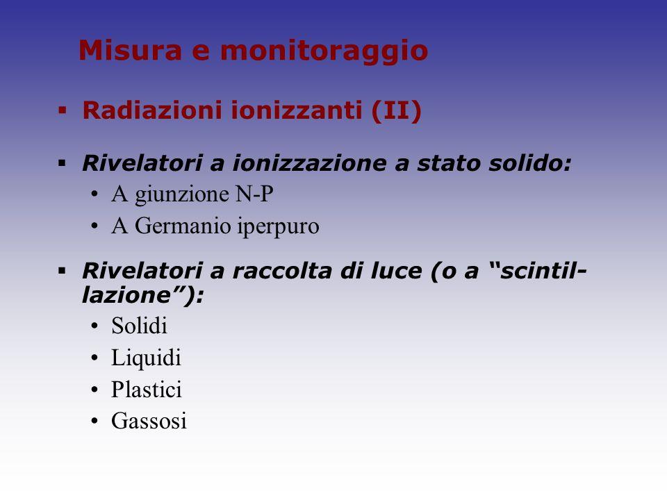 Misura e monitoraggio Radiazioni ionizzanti (II) Rivelatori a ionizzazione a stato solido: A giunzione N-P A Germanio iperpuro Rivelatori a raccolta d