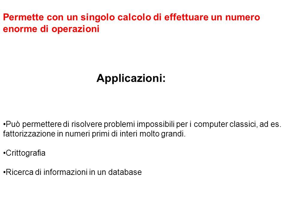 Applicazioni: Permette con un singolo calcolo di effettuare un numero enorme di operazioni Può permettere di risolvere problemi impossibili per i comp