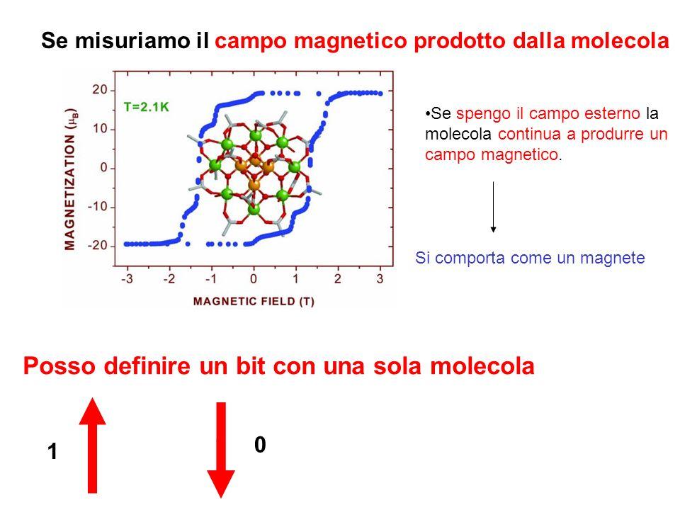 Se misuriamo il campo magnetico prodotto dalla molecola Se spengo il campo esterno la molecola continua a produrre un campo magnetico. Si comporta com