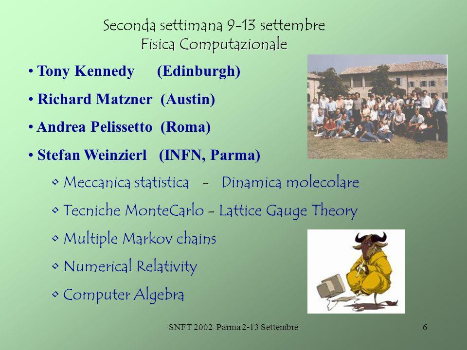 SNFT 2002 Parma 2-13 Settembre7 Istruzioni per i partecipanti Deadline per liscrizione: 30.6.2002 Mailto: Liliana.Superchi@unipr.itLiliana.Superchi@unipr.it Mailto: Enrico.Onofri@unipr.itEnrico.Onofri@unipr.it Mailto: Marisa.Bonini@unipr.itMarisa.Bonini@unipr.it Info: tel.
