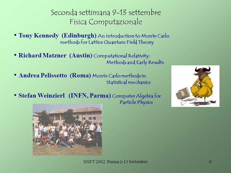 SNFT 2002 Parma 2-13 Settembre5 Modello Standard Prima settimana 3-7 settembre Modello Standard Massimiliano Grazzini (Firenze, CERN) Introduzione all