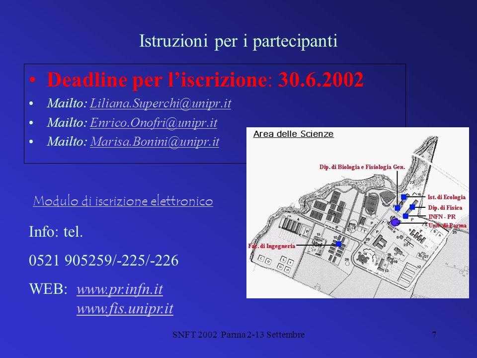 SNFT 2002 Parma 2-13 Settembre7 Istruzioni per i partecipanti Deadline per liscrizione: 30.6.2002 Mailto: Liliana.Superchi@unipr.it Mailto: Enrico.Onofri@unipr.it Mailto: Marisa.Bonini@unipr.it Info: tel.