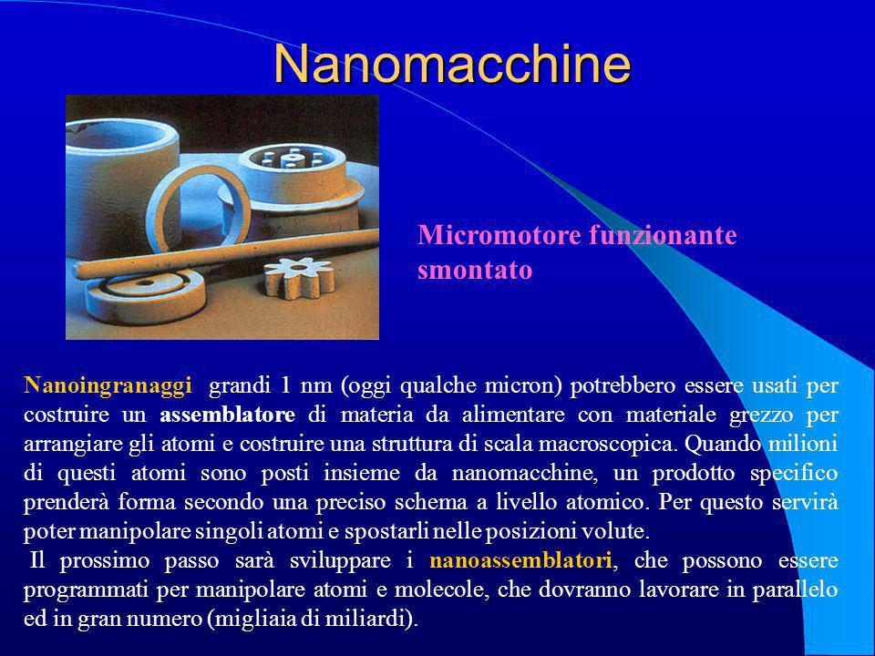 Nanomacchine Nanoingranaggi grandi 1 nm (oggi qualche micron) potrebbero essere usati per costruire un assemblatore di materia da alimentare con mater