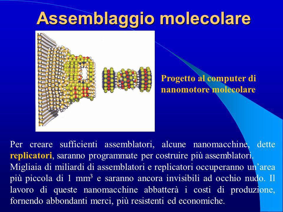 Assemblaggio molecolare Per creare sufficienti assemblatori, alcune nanomacchine, dette replicatori, saranno programmate per costruire più assemblator