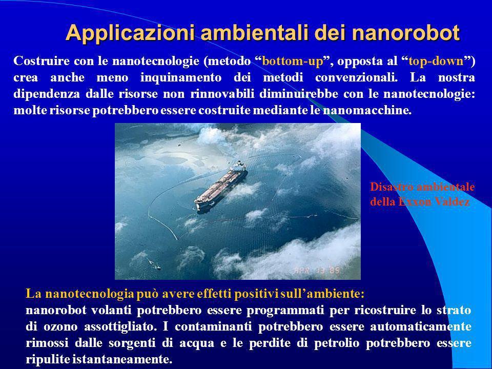 Applicazioni ambientali dei nanorobot La nanotecnologia può avere effetti positivi sullambiente: nanorobot volanti potrebbero essere programmati per r