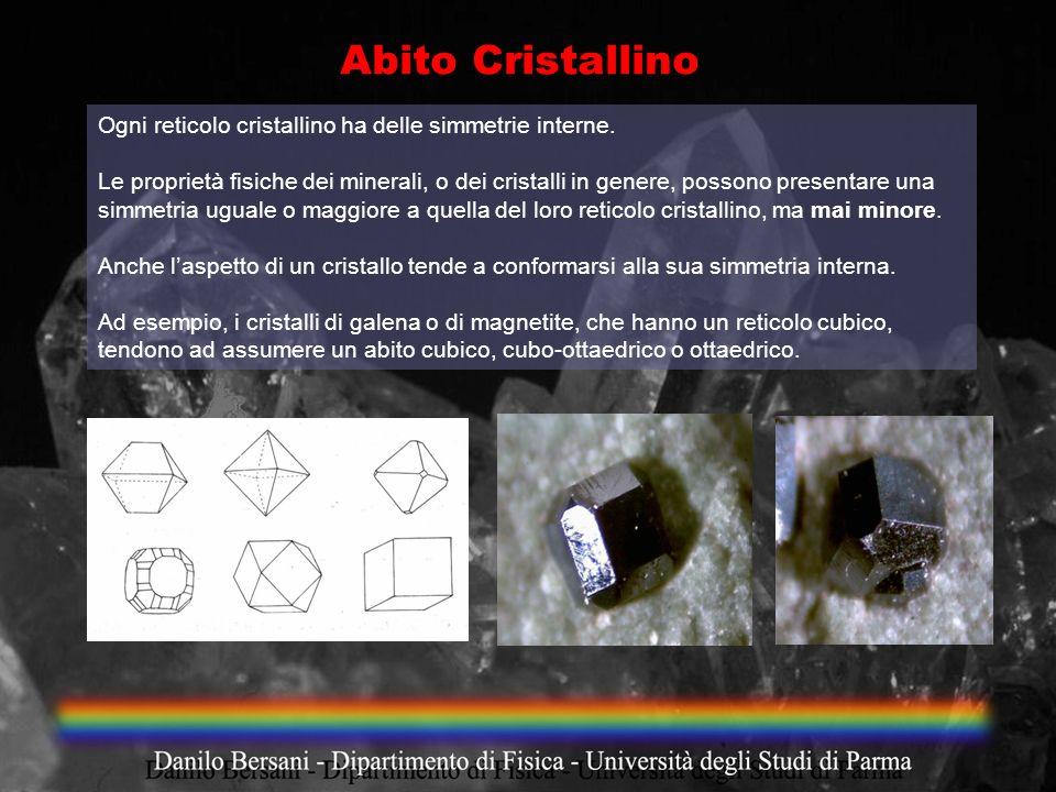 Ogni reticolo cristallino ha delle simmetrie interne. Le proprietà fisiche dei minerali, o dei cristalli in genere, possono presentare una simmetria u