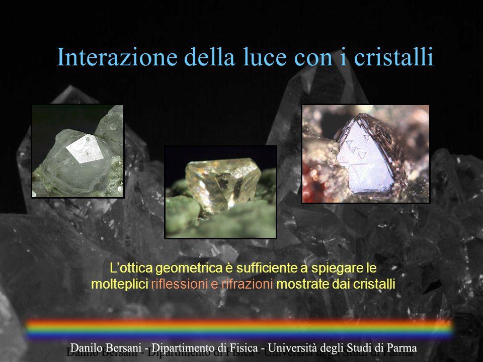 Interazione della luce con i cristalli Lottica geometrica è sufficiente a spiegare le molteplici riflessioni e rifrazioni mostrate dai cristalli
