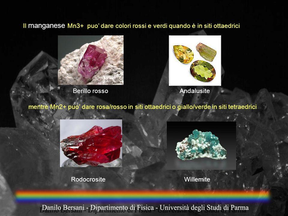 Il manganese Mn3+ puo dare colori rossi e verdi quando è in siti ottaedrici mentre Mn2+ puo dare rosa/rosso in siti ottaedrici o giallo/verde in siti