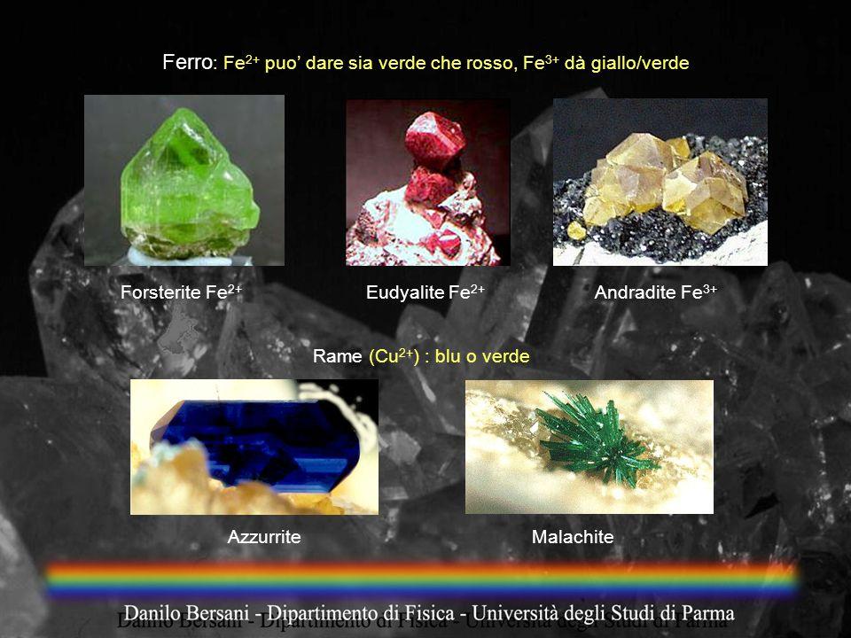 Ferro : Fe 2+ puo dare sia verde che rosso, Fe 3+ dà giallo/verde Forsterite Fe 2+ Eudyalite Fe 2+ Andradite Fe 3+ Rame (Cu 2+ ) : blu o verde Azzurri