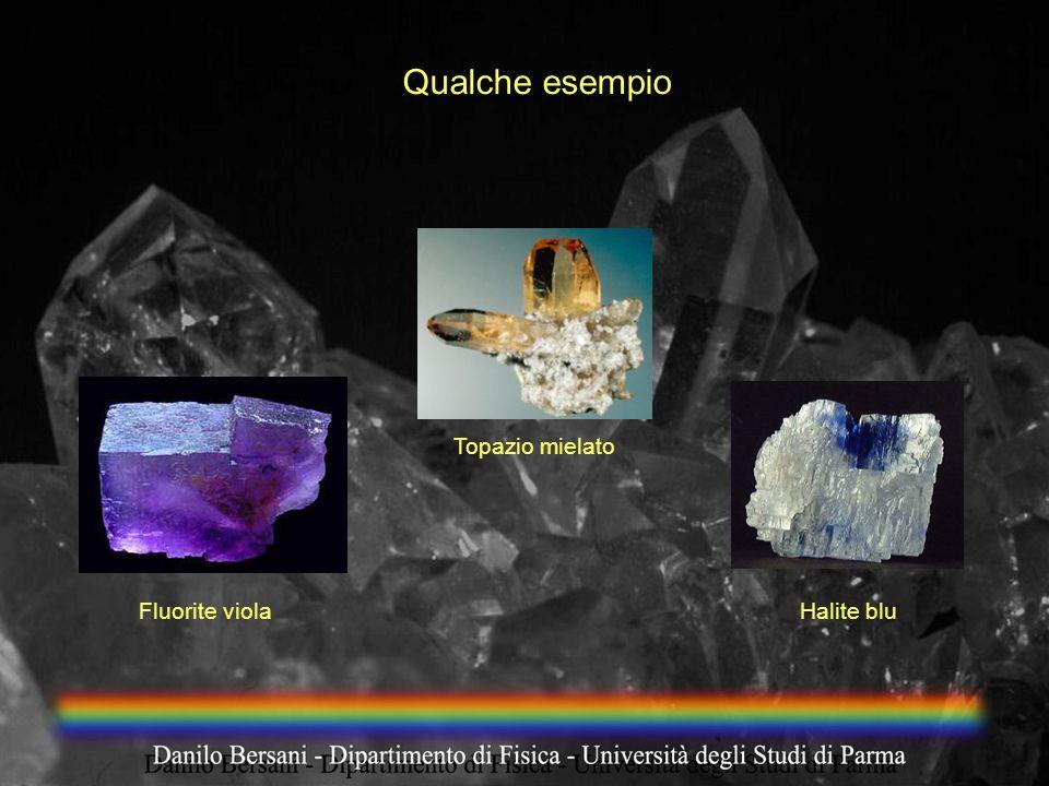 Qualche esempio Fluorite viola Topazio mielato Halite blu