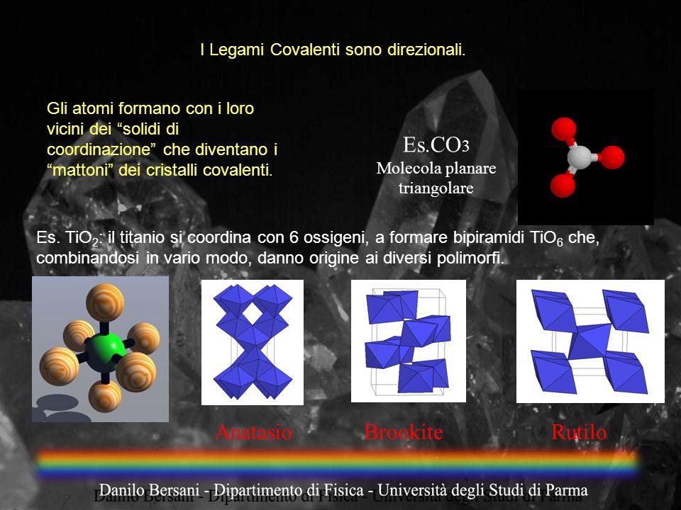 Es.CO 3 Molecola planare triangolare AnatasioBrookiteRutilo I Legami Covalenti sono direzionali. Gli atomi formano con i loro vicini dei solidi di coo