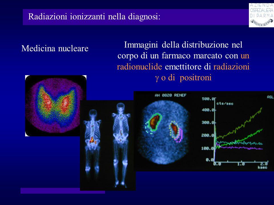 Radiazioni ionizzanti in terapia: Radioterapia fasci di radiazioni di alta energia (normalmente X,, elettroni, in alcuni centri di ricerca protoni o ioni) prodotti da radionuclidi o da acceleratori di particelle Sorgenti radioattive sigillate introdotte in via permanente o temporanea allinterno del corpo Sorgenti radioattive non sigillate veicolate allinterno del corpo da farmaci o da anticorpi cedono grandi quantita di energia alle cellule per distruggerle