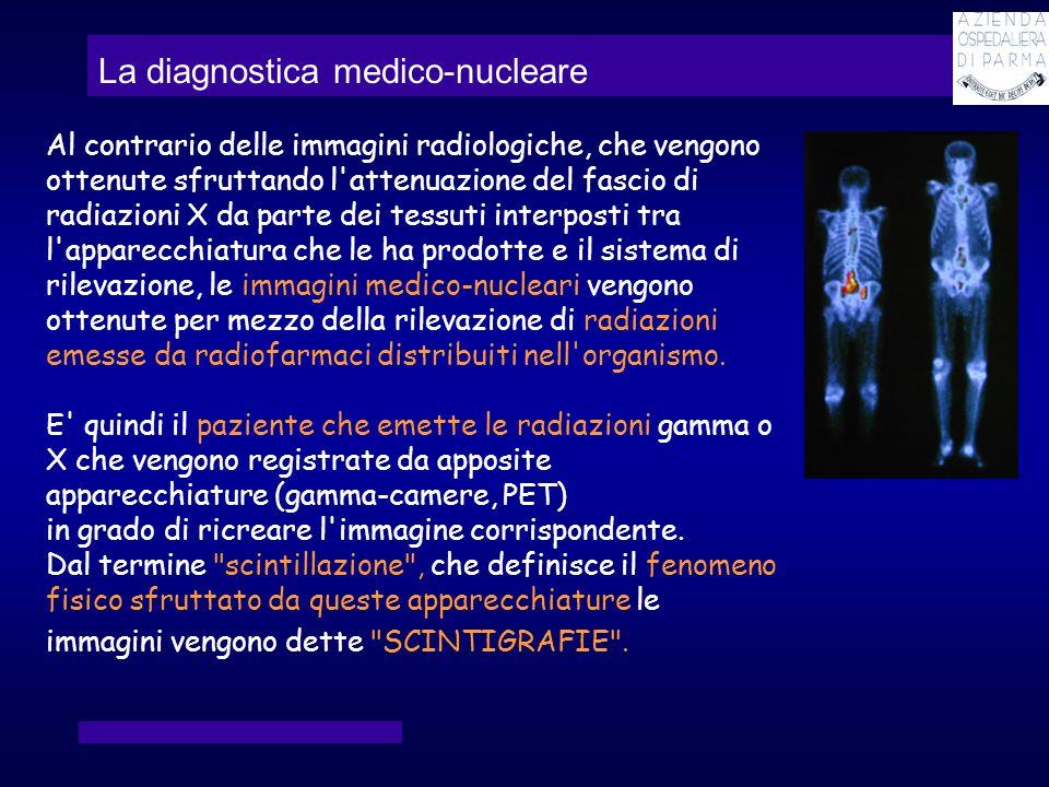 La diagnostica medico-nucleare Al contrario delle immagini radiologiche, che vengono ottenute sfruttando l'attenuazione del fascio di radiazioni X da