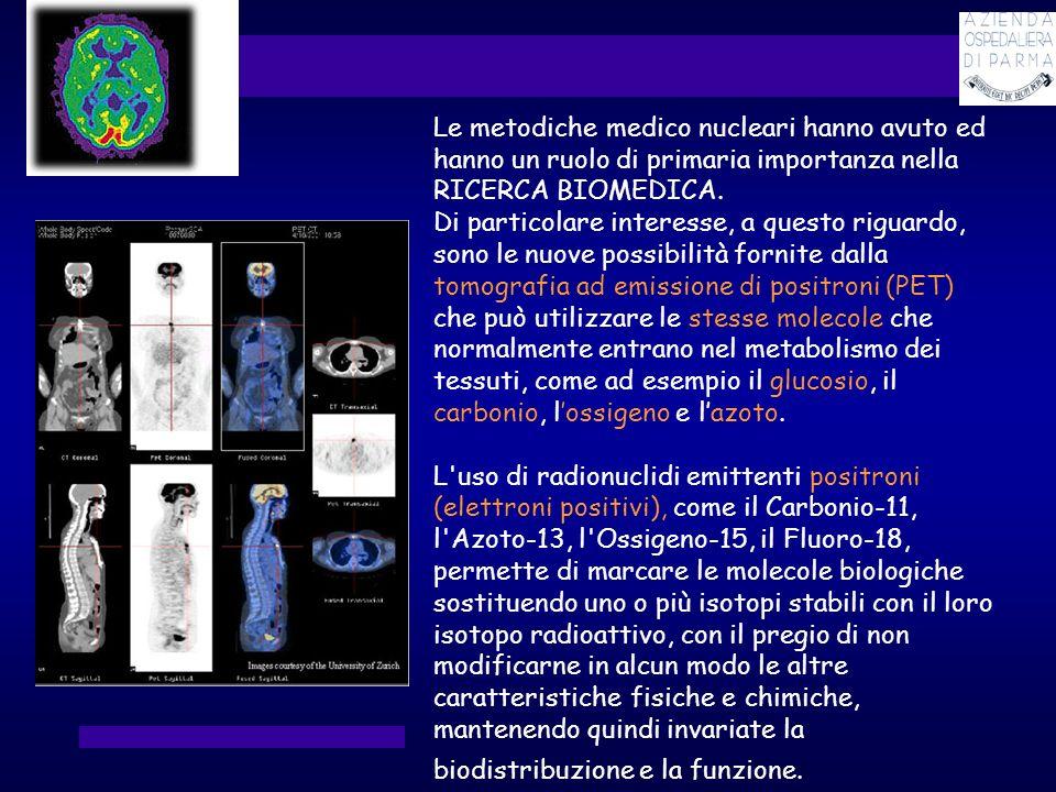 Le metodiche medico nucleari hanno avuto ed hanno un ruolo di primaria importanza nella RICERCA BIOMEDICA. Di particolare interesse, a questo riguardo