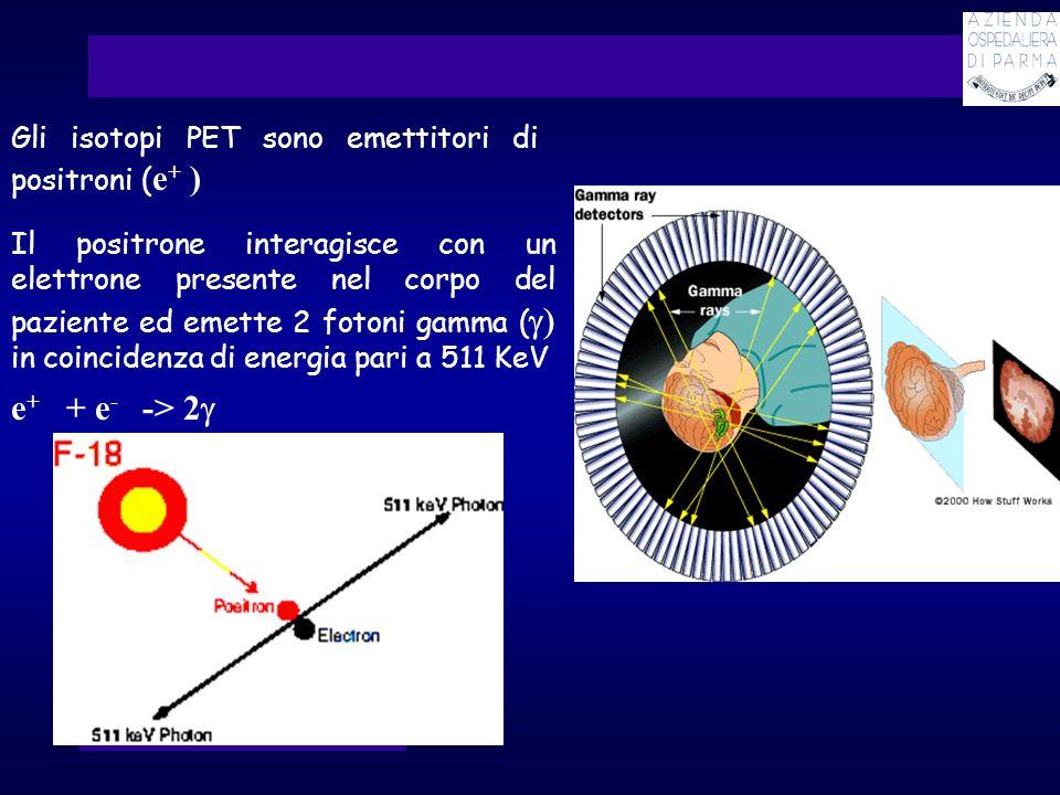 Gli isotopi PET sono emettitori di positroni ( e + ) Il positrone interagisce con un elettrone presente nel corpo del paziente ed emette 2 fotoni gamm