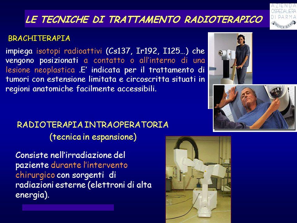 impiega isotopi radioattivi (Cs137, Ir192, I125…) che vengono posizionati a contatto o allinterno di una lesione neoplastica.E indicata per il trattam