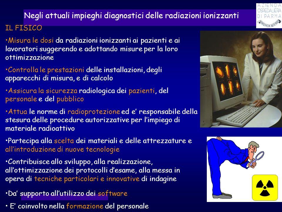 IL FISICO Misura le dosi da radiazioni ionizzanti ai pazienti e ai lavoratori suggerendo e adottando misure per la loro ottimizzazione Controlla le pr