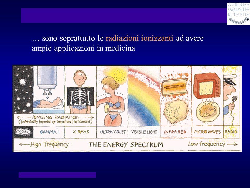 … sono soprattutto le radiazioni ionizzanti ad avere ampie applicazioni in medicina