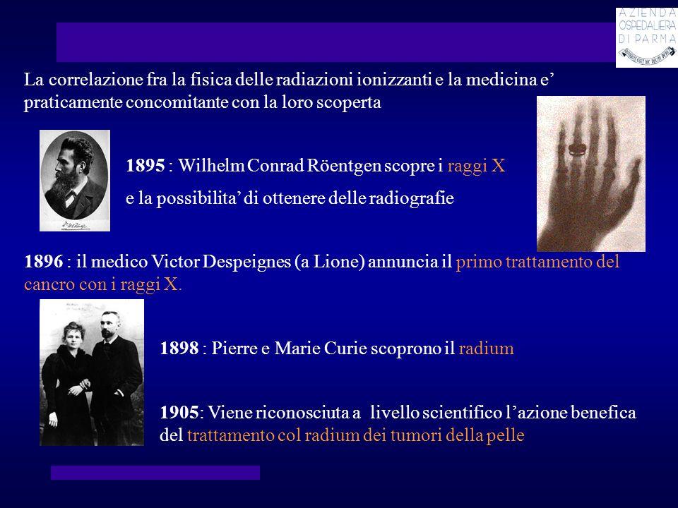 La correlazione fra la fisica delle radiazioni ionizzanti e la medicina e praticamente concomitante con la loro scoperta 1895 : Wilhelm Conrad Röentge