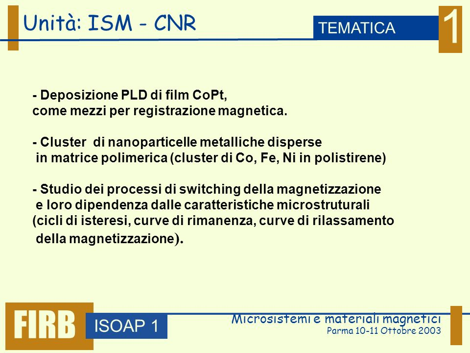 Microsistemi e materiali magnetici Parma 10-11 Ottobre 2003 Unità: Galileo Ferraris ISOAP 1 TEMATICA 1 FIRB - Preparazione di materiali magnetici granulari di tipo bulk (nastri) mediante raffreddamento ultrarapido (planar flow casting): Cu-Co, Cu-Fe-Ni - studio delle proprietà magnetiche e di magnetotrasporto: effetto dei trattamenti termici