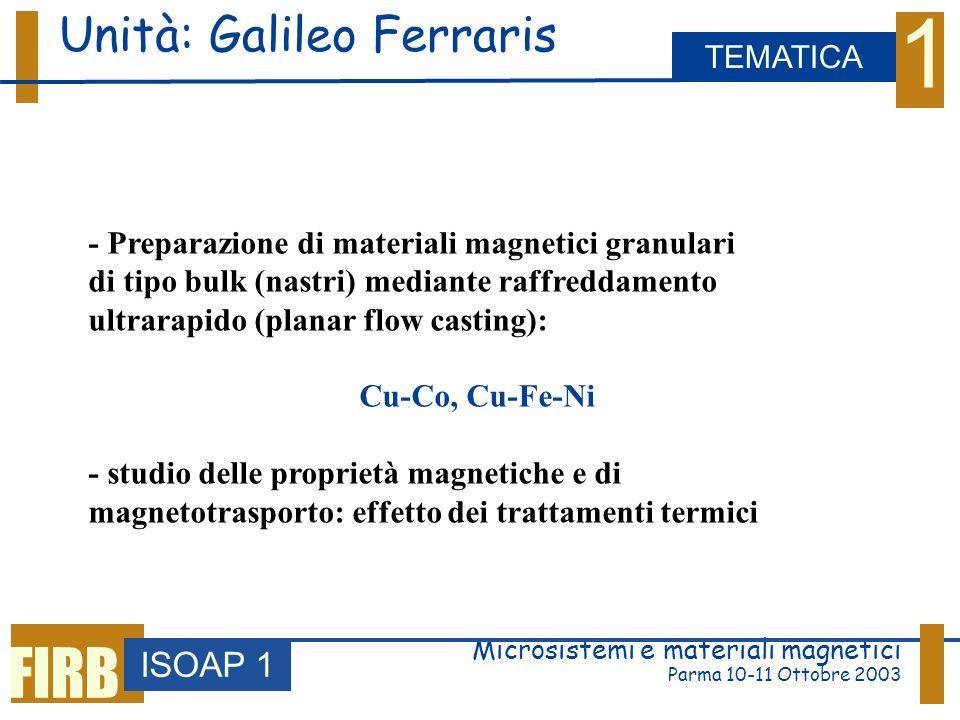 3 Microsistemi e materiali magnetici Parma 10-11 Ottobre 2003 Materiali per registrazione magnetica ISOAP 1 WORKPACKAGE FIRB Film CoPt ad alta anisotropia Deposizione PLD, studio dei meccanismi di inversione della magnetizzazione