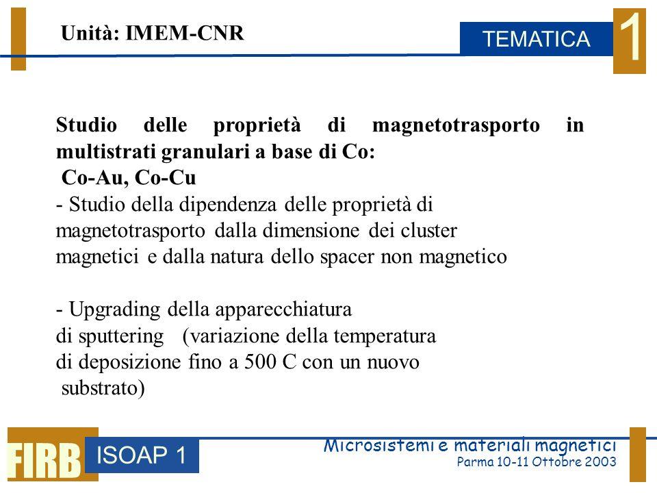 Microsistemi e materiali magnetici Parma 10-11 Ottobre 2003 ISOAP 1 TEMATICA 1 FIRB Studio delle proprietà di magnetotrasporto in multistrati granulari a base di Co: Co-Au, Co-Cu - Studio della dipendenza delle proprietà di magnetotrasporto dalla dimensione dei cluster magnetici e dalla natura dello spacer non magnetico - Upgrading della apparecchiatura di sputtering (variazione della temperatura di deposizione fino a 500 C con un nuovo substrato) Unità: IMEM-CNR