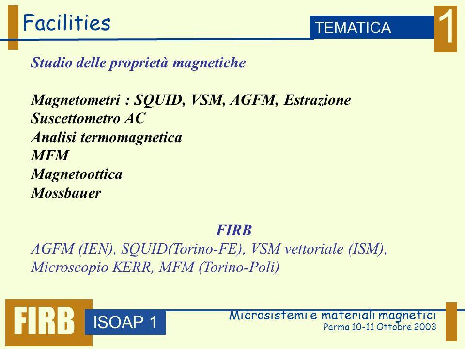 Microsistemi e materiali magnetici Parma 10-11 Ottobre 2003 Facilities ISOAP 1 TEMATICA 1 FIRB Studio delle proprietà magnetiche Magnetometri : SQUID, VSM, AGFM, Estrazione Suscettometro AC Analisi termomagnetica MFM Magnetoottica Mossbauer FIRB AGFM (IEN), SQUID(Torino-FE), VSM vettoriale (ISM), Microscopio KERR, MFM (Torino-Poli)