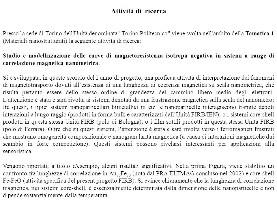 Attività di ricerca Presso la sede di Torino dell'Unità denominata