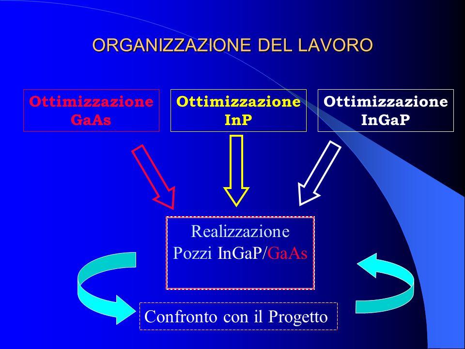 ORGANIZZAZIONE DEL LAVORO Ottimizzazione GaAs Ottimizzazione InP Ottimizzazione InGaP Realizzazione Pozzi InGaP/GaAs Confronto con il Progetto