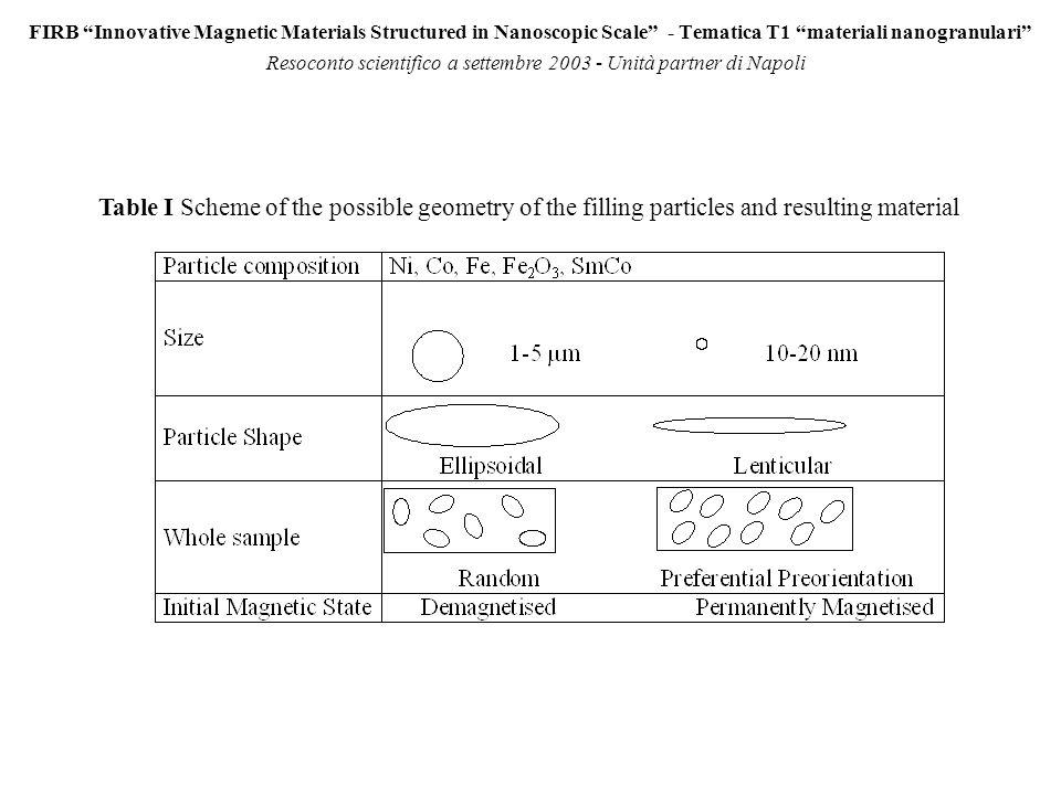 FIRB Innovative Magnetic Materials Structured in Nanoscopic Scale - Tematica T1 materiali nanogranulari Resoconto scientifico a settembre 2003 - Unità