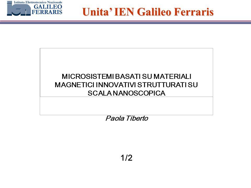 Unita IEN Galileo Ferraris MICROSISTEMI BASATI SU MATERIALI MAGNETICI INNOVATIVI STRUTTURATI SU SCALA NANOSCOPICA Paola Tiberto 1/2