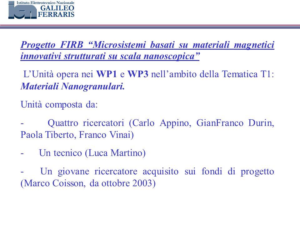 Progetto FIRB Microsistemi basati su materiali magnetici innovativi strutturati su scala nanoscopica LUnità opera nei WP1 e WP3 nellambito della Tematica T1: Materiali Nanogranulari.