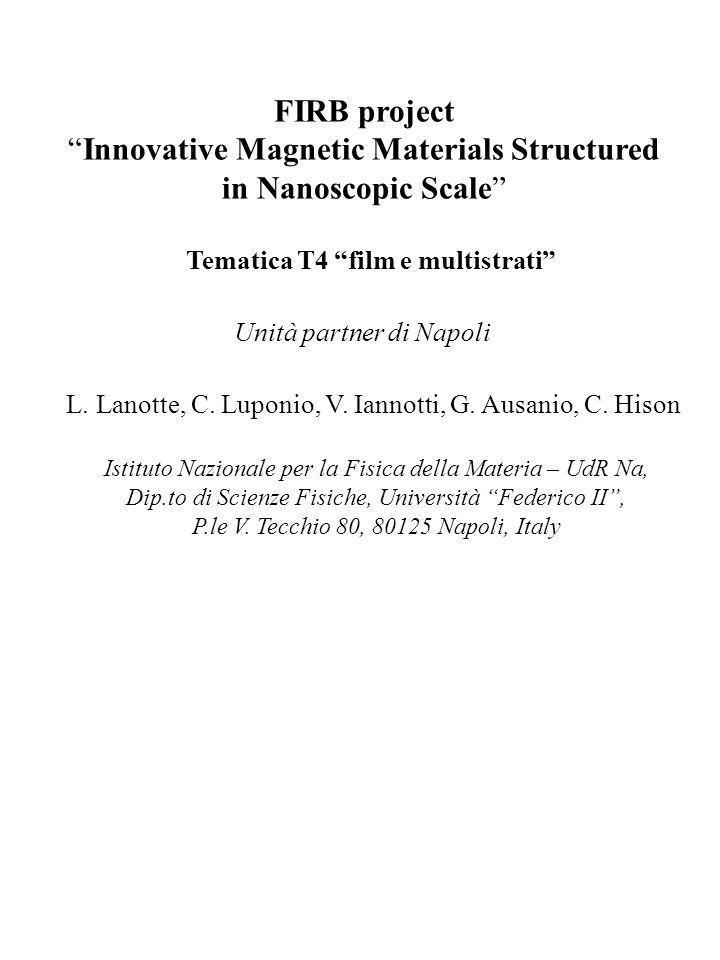 FIRB Innovative Magnetic Materials Structured in Nanoscopic Scale Tematica T4 films e multistrati Attività svolte: 1.studio di progetto di un magnetostrittometro ottico- interferometrico che permetta di eseguire misure dirette di deformazioni su film e multistrati in campi magnetizzati anche più intensi del tesla; 2.approfondimento riguardante la possibilità di eseguire indagini alla microscopia a forza atomica e magnetica con la sovrapposizione di un campo magnetizzante intenso, sia planare sia ortogonale rispetto ai film da investigare.