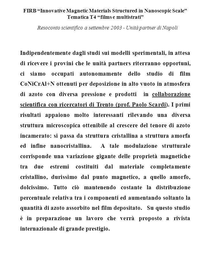FIRB Innovative Magnetic Materials Structured in Nanoscopic Scale Tematica T4 films e multistrati Magnetizzazione nel piano dei films Resoconto scientifico a settembre 2003 - Unità partner di Napoli