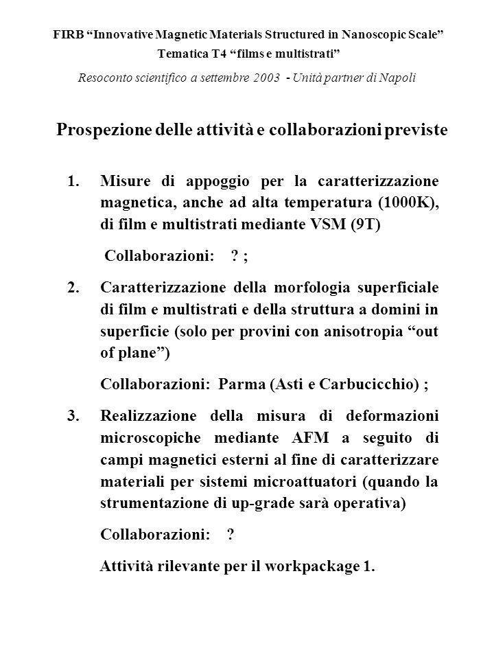 FIRB Innovative Magnetic Materials Structured in Nanoscopic Scale Tematica T4 films e multistrati Resoconto scientifico a settembre 2003 - Unità partner di Napoli Prospezione delle attività e collaborazioni previste 1.Misure di appoggio per la caratterizzazione magnetica, anche ad alta temperatura (1000K), di film e multistrati mediante VSM (9T) Collaborazioni: .