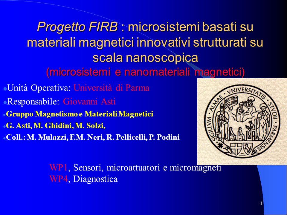1 Progetto FIRB : microsistemi basati su materiali magnetici innovativi strutturati su scala nanoscopica (microsistemi e nanomateriali magnetici) Unità Operativa: Università di Parma Responsabile: Giovanni Asti Gruppo Magnetismo e Materiali Magnetici G.