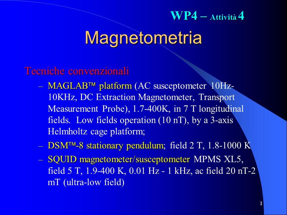 1 Magnetometria Tecniche convenzionali – MAGLAB platform – MAGLAB platform (AC susceptometer 10Hz- 10KHz, DC Extraction Magnetometer, Transport Measurement Probe), 1.7-400K, in 7 T longitudinal fields.