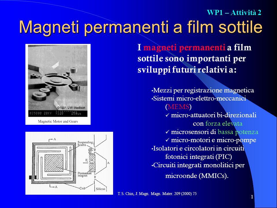 1 Magneti permanenti a film sottile I magneti permanenti a film sottile sono importanti per sviluppi futuri relativi a: Mezzi per registrazione magnet