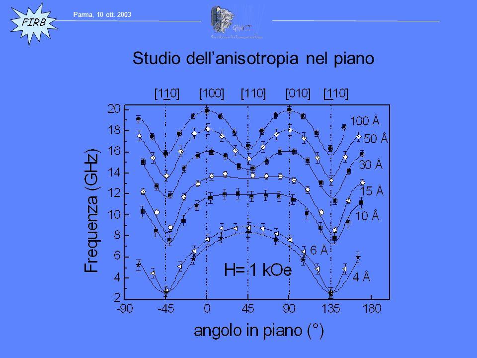 Studio dellanisotropia nel piano FIRB Parma, 10 ott. 2003