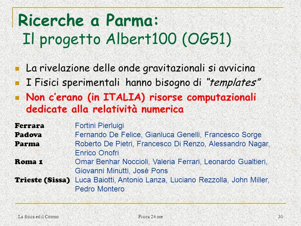 La fisica ed il Cosmo Fisica 24 ore 30 Ricerche a Parma: Il progetto Albert100 (OG51) La rivelazione delle onde gravitazionali si avvicina I Fisici sp
