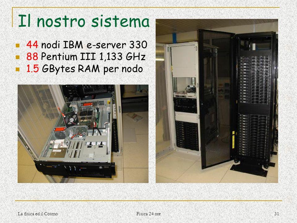 La fisica ed il Cosmo Fisica 24 ore 31 Il nostro sistema 44 nodi IBM e-server 330 88 Pentium III 1,133 GHz 1.5 GBytes RAM per nodo