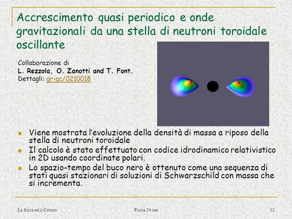 La fisica ed il Cosmo Fisica 24 ore 32 Accrescimento quasi periodico e onde gravitazionali da una stella di neutroni toroidale oscillante Collaborazio