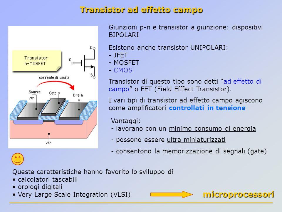 Transistor ad effetto campo Giunzioni p-n e transistor a giunzione: dispositivi BIPOLARI Esistono anche transistor UNIPOLARI: - JFET - MOSFET - CMOS T
