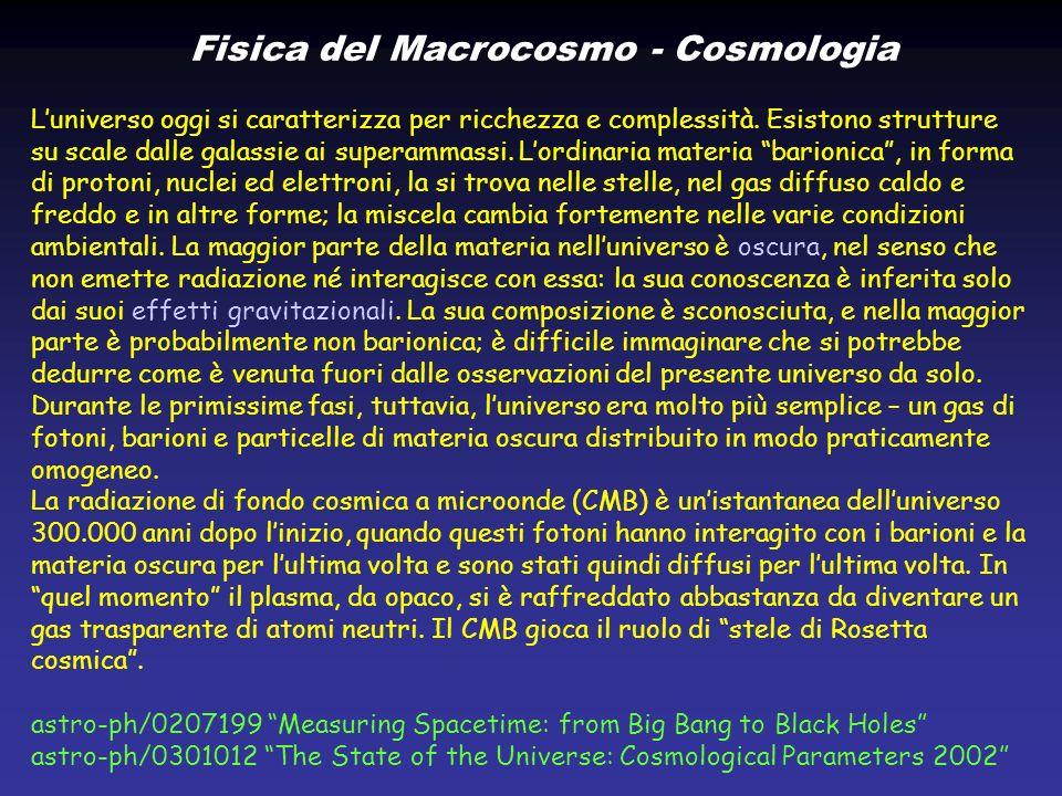 CMB – Cosmic Microwave Background http://map.gsfc.nasa.gov/m_uni/uni_101bbtest3.html ±0.004 K z T 0 (oggi) 2.728 K ~1200
