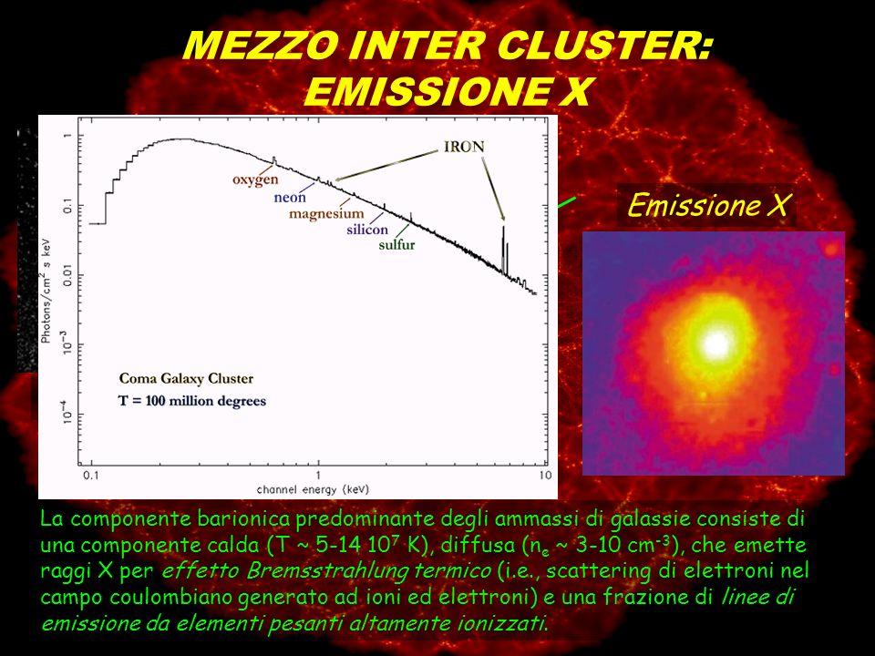 La componente barionica predominante degli ammassi di galassie consiste di una componente calda (T ~ 5-14 10 7 K), diffusa (n e ~ 3-10 cm -3 ), che em
