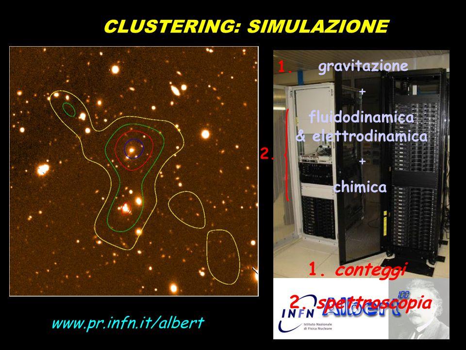 CLUSTERING: SIMULAZIONE gravitazione fluidodinamica & elettrodinamica chimica + + 1. conteggi 2. spettroscopia 1. 2. www.pr.infn.it/albert