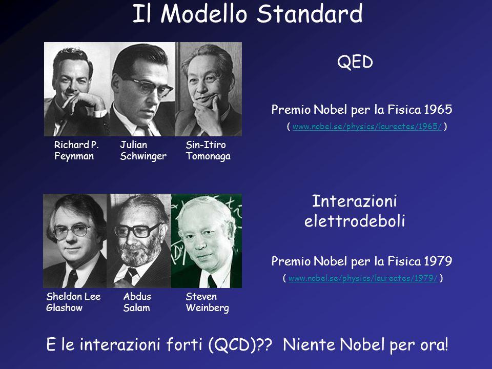 Il Modello Standard Sheldon Lee Glashow Abdus Salam Steven Weinberg Premio Nobel per la Fisica 1979 Richard P. Feynman Julian Schwinger Sin-Itiro Tomo