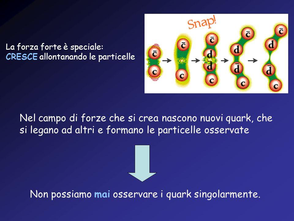 La forza forte è speciale: CRESCE allontanando le particelle Nel campo di forze che si crea nascono nuovi quark, che si legano ad altri e formano le p